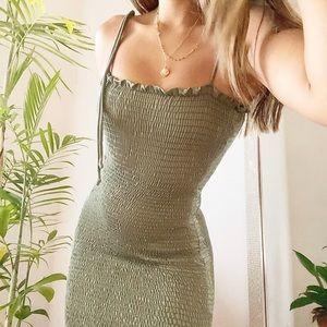 shirred green mini dress